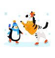zebra and penguin skating - flat design style vector image