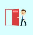 employee walk and open red door with new job text vector image