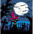 Halloween cat on cemetery vector image
