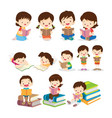 childrens reading book various actions vector image
