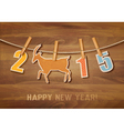 2015 with a goat on wooden background vector image vector image