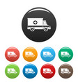 ambulance icons set color vector image vector image