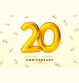 anniversary golden balloons number 20 vector image vector image