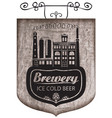 beer signboard with retro brewery building vector image