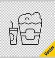 black line popcorn in cardboard box and paper vector image vector image