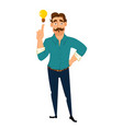 business man having a brilliant idea guy with vector image
