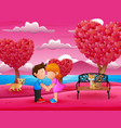 cartoon romantic couple kissing in a beautiful pin vector image vector image