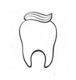 clean healthy human tooth with toothpaste outline vector image vector image