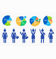 collection blue simplified businesswoman vector image vector image