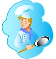 Cook professionin a frying pan vector image