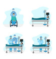 doctor with a patient in intensive care vector image vector image