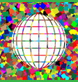 Earth globe sign white icon on colorful