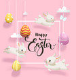 easter eggs hanging on threads white rabbits vector image