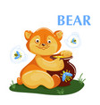 educational flashcard bear eating the honey and vector image vector image