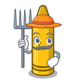 farmer yellow crayon in character chair vector image vector image