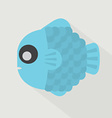 Flat Design Blue Fish Icon vector image