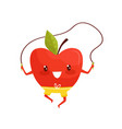 funny red apple exercising with jumping rope vector image
