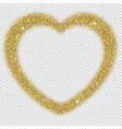 golden glitter frame in the shape of heart with vector image vector image
