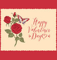 greeting card with inscription happy valentines vector image