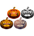 halloween pumpkin cartoon carved eyes mouth icon vector image vector image