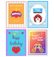 happy birthday various cards vector image
