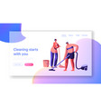 housecleaning by scrubwoman landing page vector image vector image