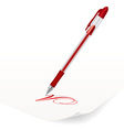 image of red ballpoint pen writing on paper vector image vector image