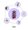 japanese national symbols doodle collection vector image