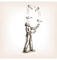 Juggler man sketch style vector image vector image