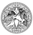 line art of angel wings with a heart and a raven vector image vector image
