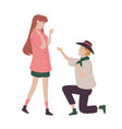 man ask woman for her hand in marriage vector image vector image