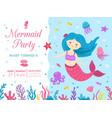 mermaid party cute princess birthday invitation vector image vector image