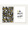 merry christmas card gold retro 80s pattern vector image vector image