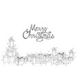 merry christmas white background with hand drawn vector image vector image