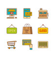 minimal lineart flat shopping icon set vector image