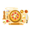 pizza cooking design flat vector image vector image