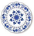 porcelain plate with blue on white abstract vector image