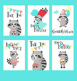 raccoon birthday cards template set vector image vector image