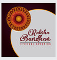 raksha bandhan festival greeting with rakhi vector image vector image