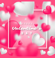 realistic floating 3d valentine blur hearts card vector image