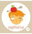 Sagittarius zodiac sign girl with apple on head vector image