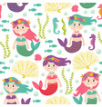 seamless pattern with mermaid under sea vector image vector image