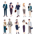 set business people men and women in office vector image