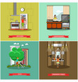set of house and kitchen square posters in vector image vector image