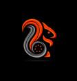 starred squirrel logo vector image vector image