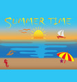 summer time icons sunset and flying seagulls vector image
