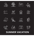 summer vacation editable line icons set on vector image