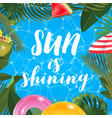 sun is shining message on marine background pool vector image