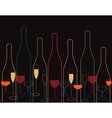 wine bottles Wine bottle and glass vector image vector image