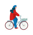 woman dressed in seasonal clothes riding bike vector image
